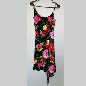Cache Floral Hawaiian Dress W/ Snake Embellishment